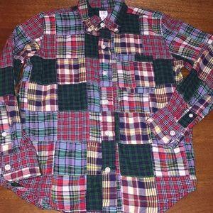 GAP KIDS patchwork plaid flannel button down 8 (M)